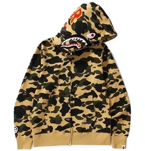 A Bathing Ape 1st Camo Shark Full Zip Hoodie - PONR - Yellow Camo