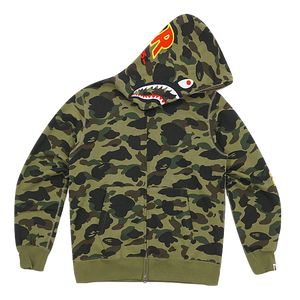 A Bathing Ape 1st Camo Shark Full Zip Hoodie PONR - Green Camo