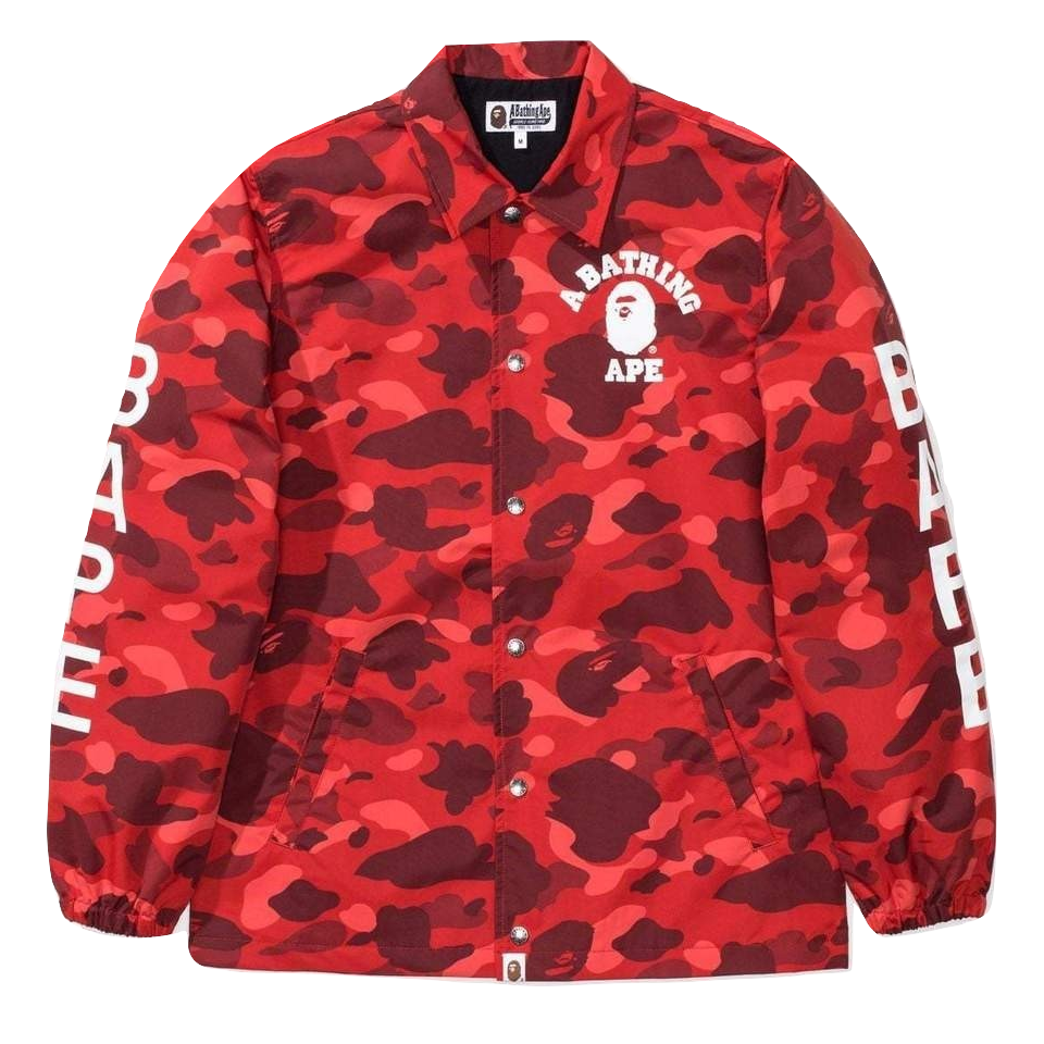A Bathing Ape Color Camo Coach Jacket - Red