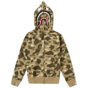 A Bathing Ape Color Camo Full Zip Shark WGM Hoodie - Beige