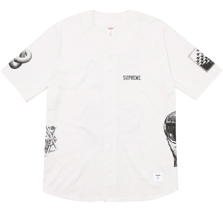 Supreme MC Escher Cotton Baseball Jersey - White