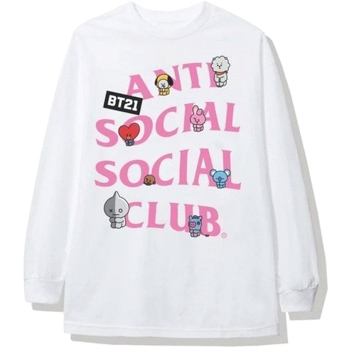 Anti Social Social Club x BT21 Back Track Long Sleeve Tee - White