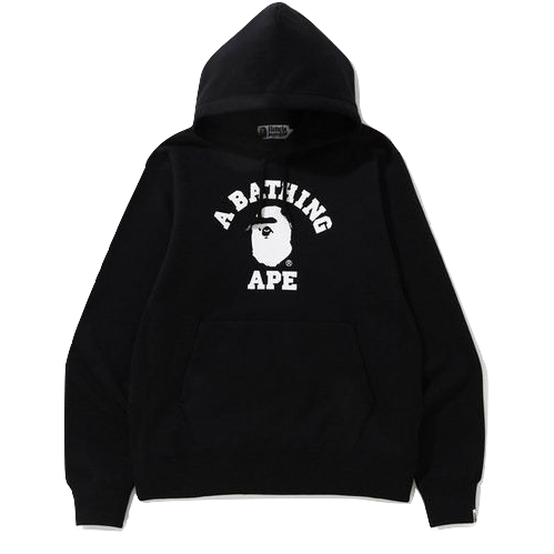 A Bathing Ape College Heavy Weight Pullover Hoodie - Black/White