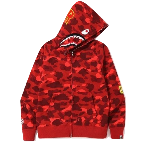 A Bathing Ape Color Camo PONR Shark Zip Up Hoodie - Red