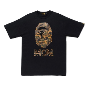 A Bathing Ape x MCM Ape Head Camo Tee - Brown