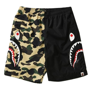 A Bathing Ape 1st Camo Half Shark Beach Shorts - Black/Yellow
