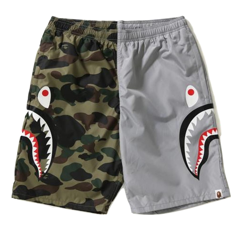 A Bathing Ape 1st Camo Shark Beach Shorts - Green/Gray