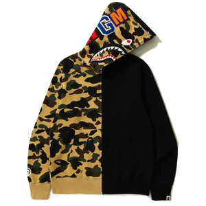A Bathing Ape 1st Camo Half & Half Full Zip Hoodie - Black/Yellow Camo