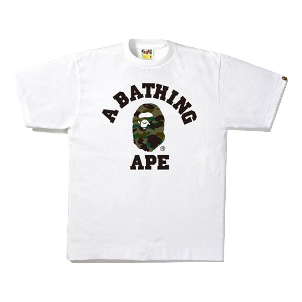 A Bathing Ape 1st Camo College Tee - White/Green Camo