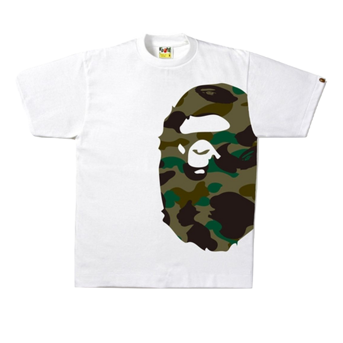 A Bathing Ape 1st Camo Side Big Ape Tee - White/Green Camo