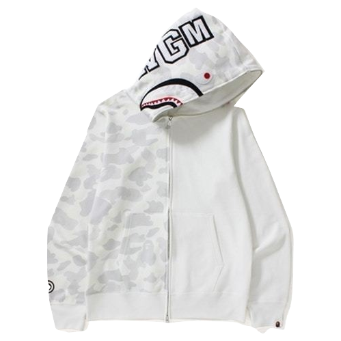 A Bathing Ape City Camo Half Shark Full Zip Hoodie - White - Used
