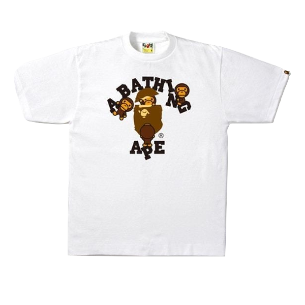 A Bathing Ape College Milo Tee - White - Used