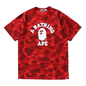 A Bathing Ape Color Camo College Tee - Red Color Camo