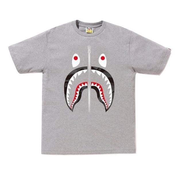 A Bathing Ape Color Camo Shark Tee - Gray/Black