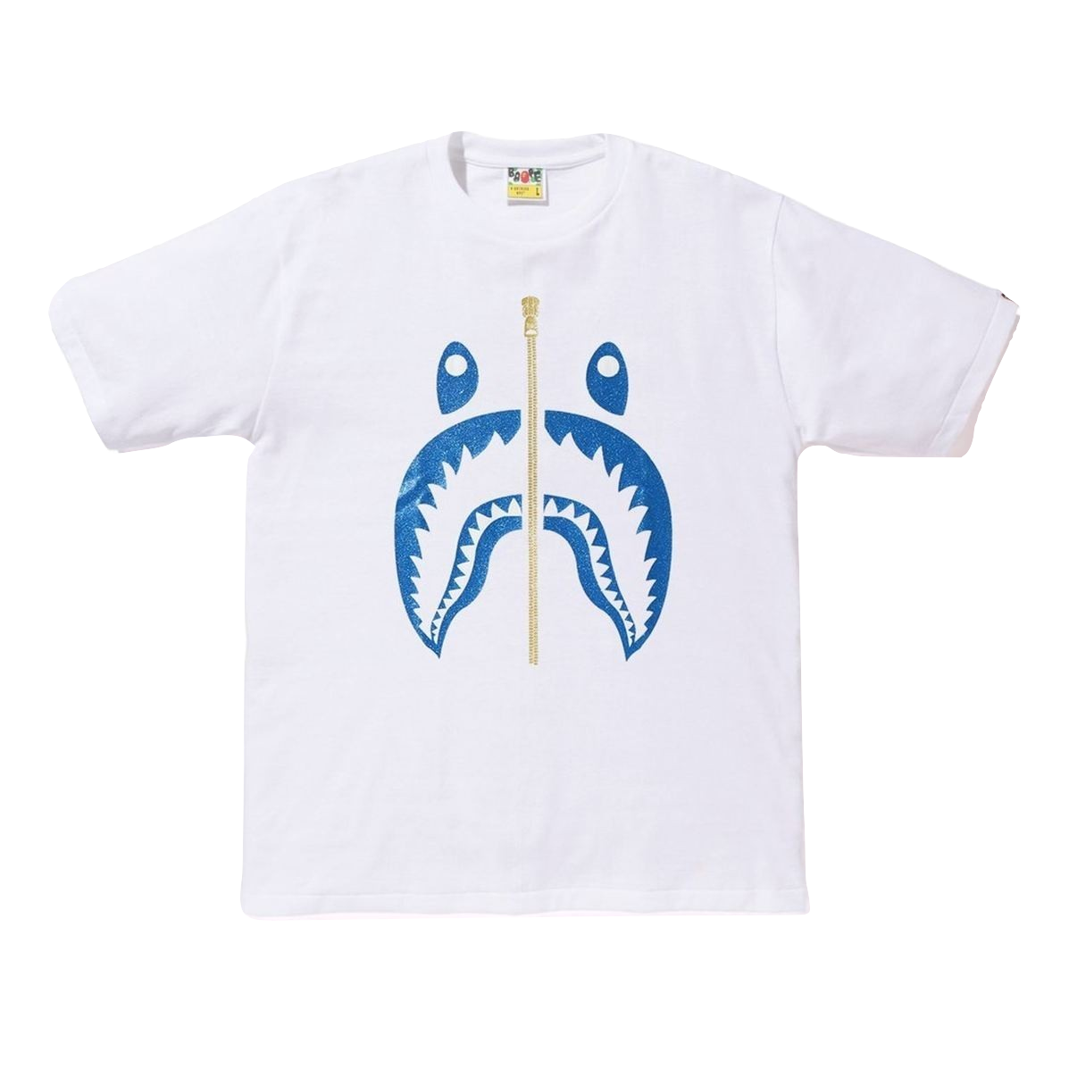 A Bathing Ape Glitter Shark Tee - White/Blue