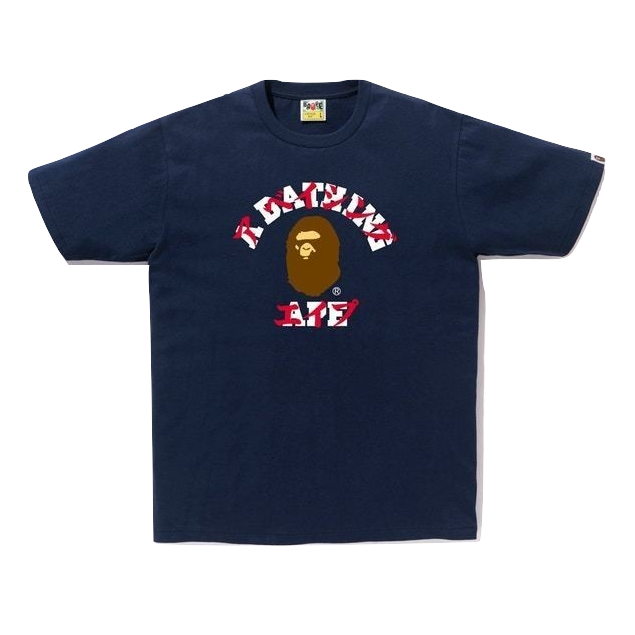 A Bathing Ape Katakana College Tee - Navy
