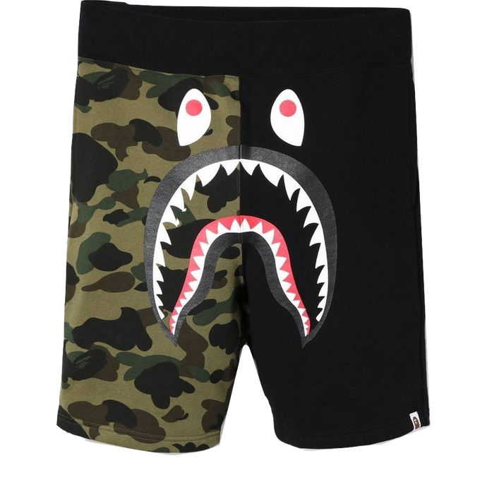 A Bathing Ape Shark Sweat Shorts - Black/Camo