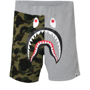 A Bathing Ape Shark Sweat Shorts - Gray/Green Camo