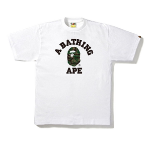 A Bathing Ape Tiger Camo College Tee - White/Olive Drab - Used