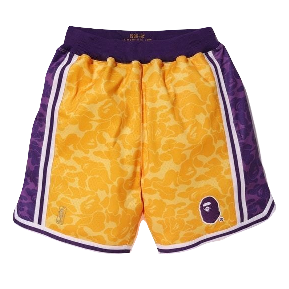 A Bathing Ape x Mitchell & Ness ABC Basketball Shorts - Yellow