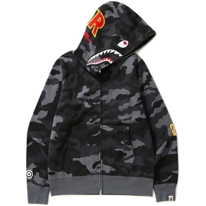 A Bathing Ape Woodland Camo Shark Full Zip Hoodie - Black