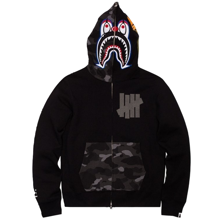 Bape X Undefeated Pierrot Shark Full Zip Hoodie - Used