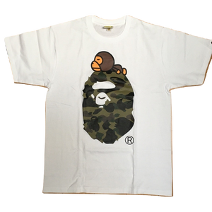 A Bathing Ape 1st Camo Milo On Big Ape Tee - White/Green Camo