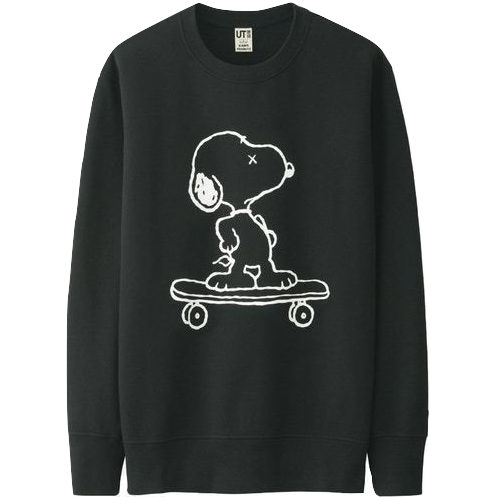 Kaws x Uniqlo x Peanuts Snoopy Skateboarding Sweatshirt - Black - Used