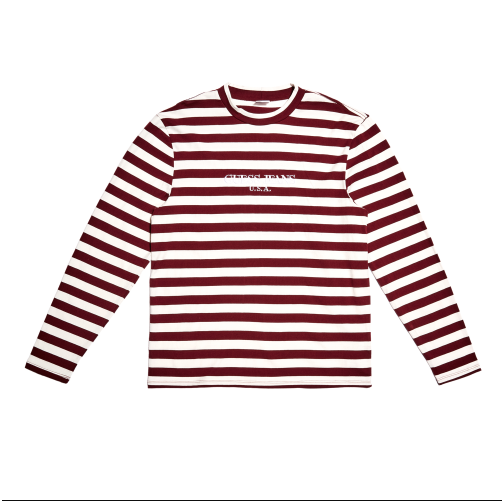 Guess Jeans Long Sleeve Striped Crew - Maroon