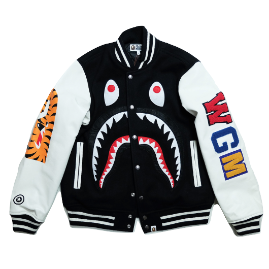 A Bathing Ape Monkey Shark Varsity Bomber Jacket - Black/White - Used