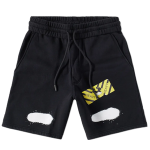 OFF White Diag Spray Sweatshorts - Black