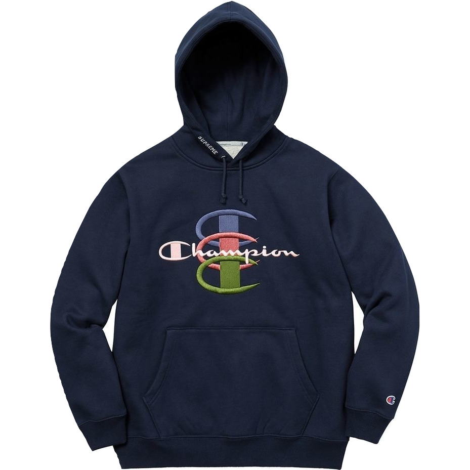 Supreme Champion Stacked C Hooded Sweatshirt - Navy - Used