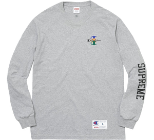 Supreme Stacked C Long Sleeve Tee - Heather Grey