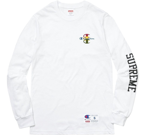 Supreme Champion Stacked C L/S Tee - White
