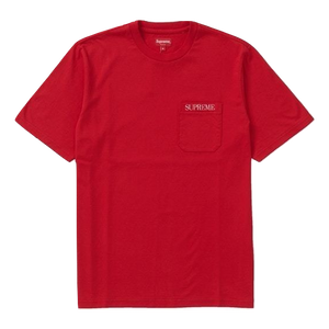 Supreme Embroidered Pocket Tee - Red - Used