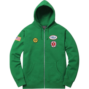 Supreme Hysteric Glamour Patches Zip Up Sweatshirt Green