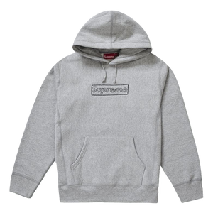 Supreme Kaws Chalk Logo Hooded Sweatshirt - Heather Grey