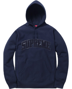 Supreme Patent Leather Arc Logo Hooded Sweatshirt - Navy