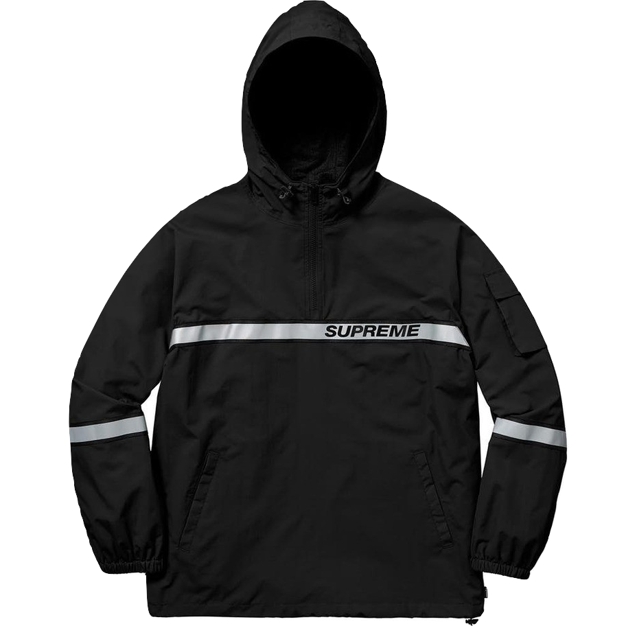 Supreme Reflective Taping Hooded Pullover - Black