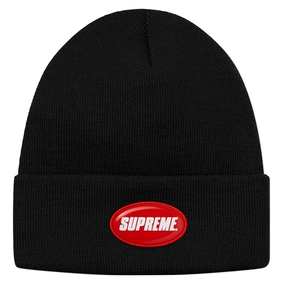 Supreme Rubber Patch Beanie - Black