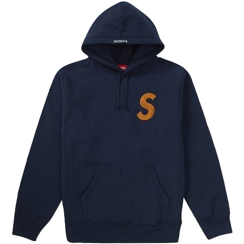 Supreme S Logo Hooded Sweatshirt FW18 - Navy - Used