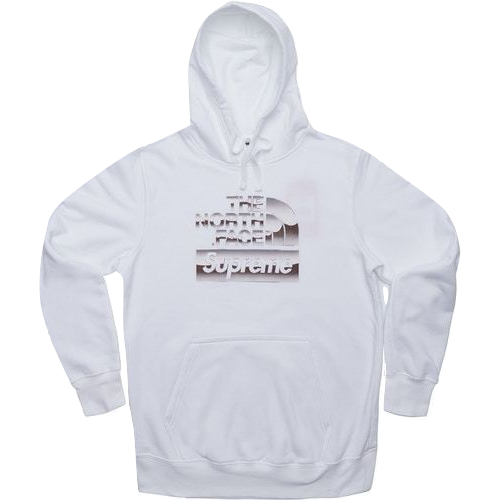 Supreme x The North Face Metallic Logo Hooded Sweatshirt - White - Used