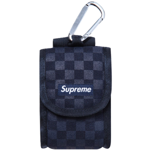 Supreme Printed Check Camera Pouch Navy