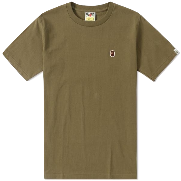 A Bathing Ape Bape Head Patch Tee - Olive