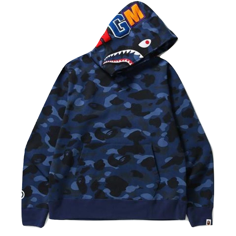A Bathing Ape Color Camo Shark Wide Pullover Hoodie