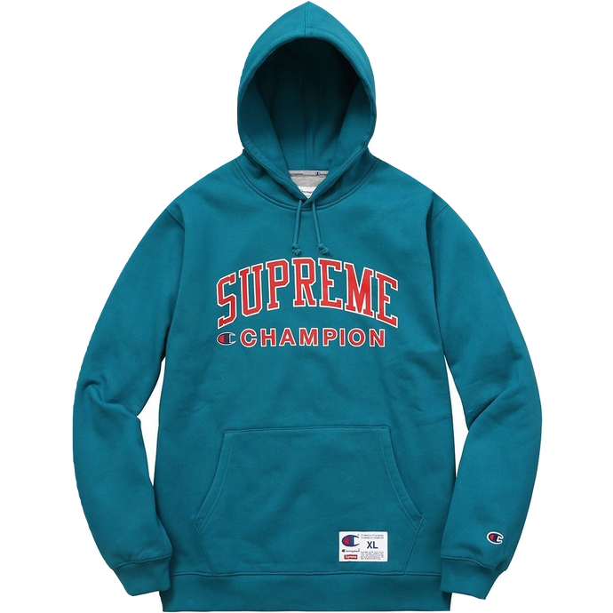 Supreme X Champion Hooded Sweatshirt - Teal - Used