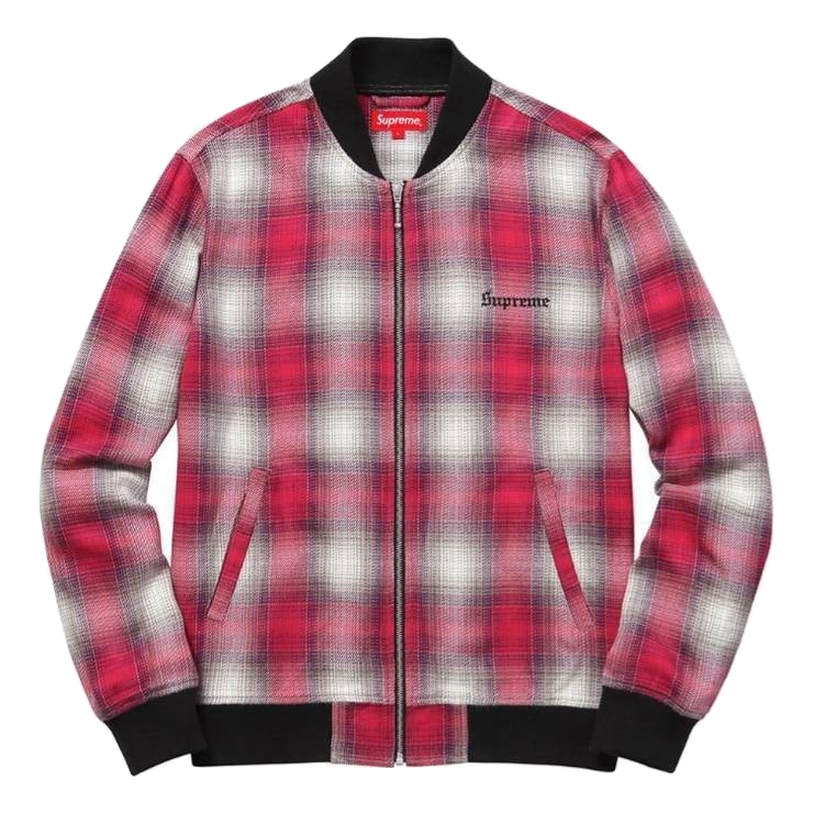 Supreme Shadow Plaid Bomber Jacket - Pink