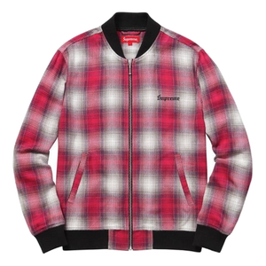 Supreme Shadow Plaid Bomber Jacket - Pink - Used