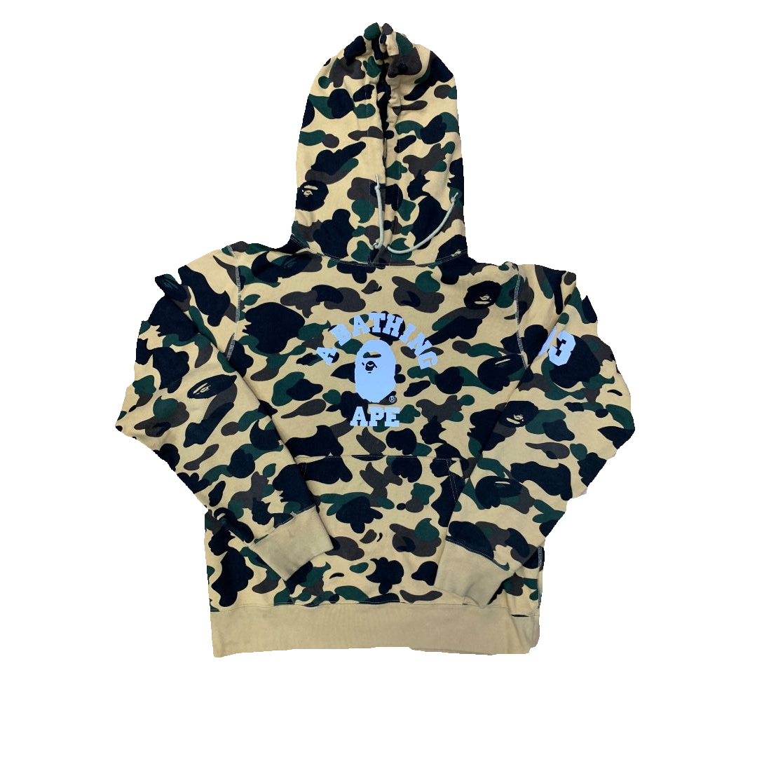 A Bathing Ape 1st Camo College Reflective Hoodie - Yellow Camo - Used