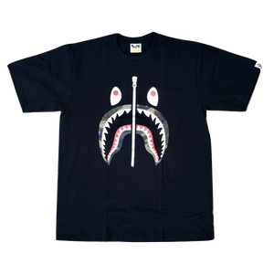 A Bathing Ape Woodland Camo Shark Tee - Black